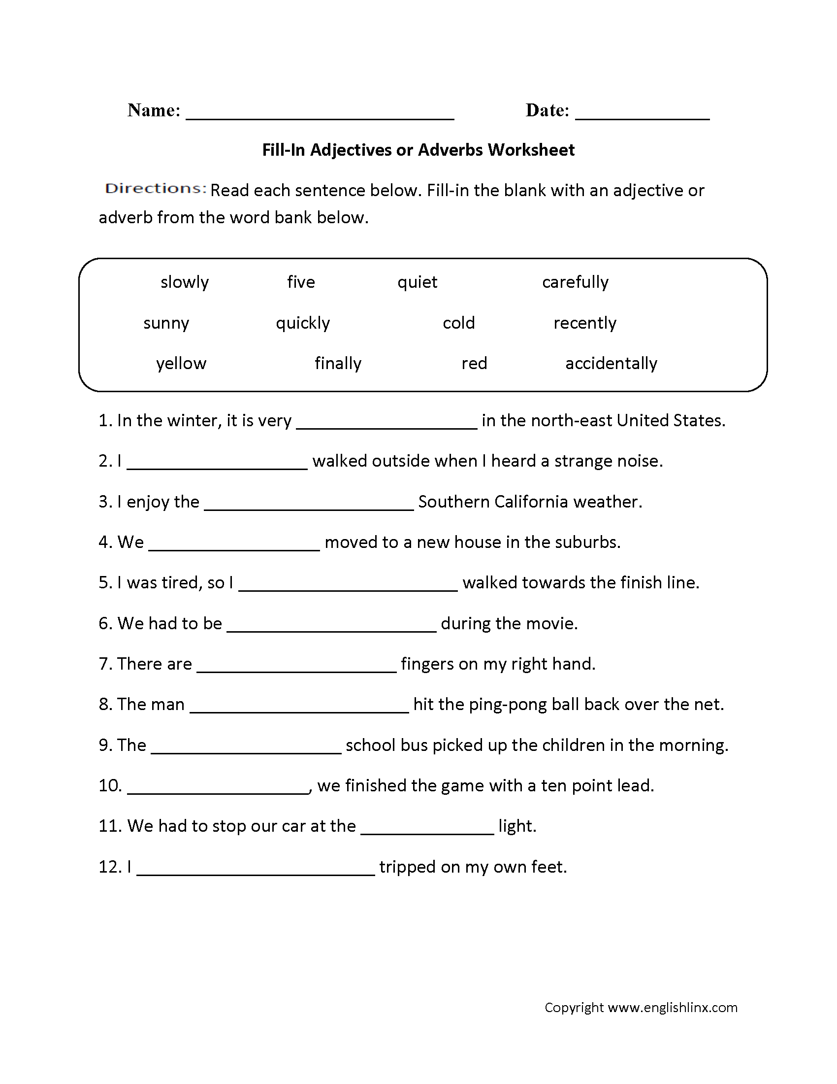 Adjectives or Adverbs Worksheet